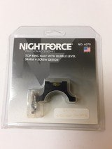 NIGHT FORCE TOP RING HALF WITH BUBBLE LEVEL 34MM 4 SCREW DESIGN A270