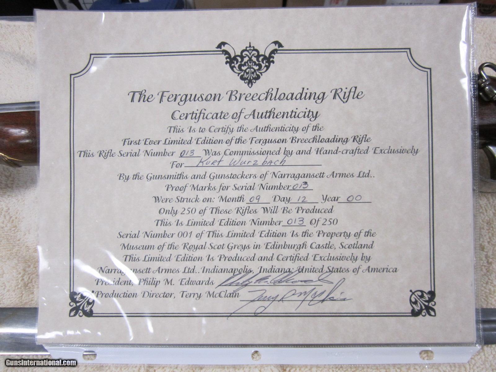 Ferguson Breechloading Rifle 013 / 250 Narragansett Armes
