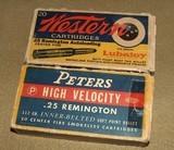 .25 Remington, Box of Western, Box of Peters