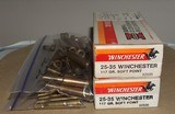 WINCHESTER 25-35 Brass, used 80 Deprimed Brass Cases and 60 Primed Brass Cases, 40 R-P, 20 W-W