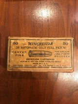 Full Box Winchester .38 Automatic Colt Full Patch Ammo