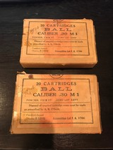 2 Boxes of .30 M1 Ball Ammunition from Frankford Arsenal