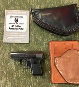 Baby Browning 25 Auto w/ original manual, Browning pouch, and a Safariland wallet holster