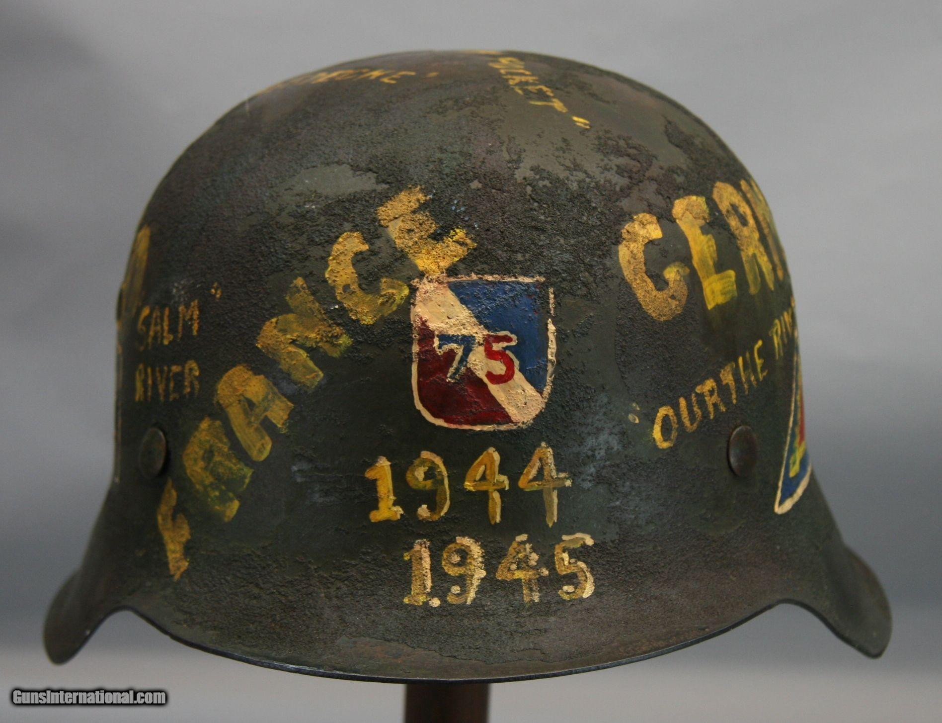 WW2 German M42 Souvenir Helmet, 75th Div for sale