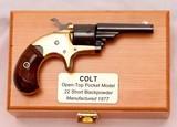colt, open top pocket revolver, original finish, cased, colt letter, c.1877,antique