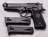 "Beretta, 92FS, 9mm x 4.9"" Barrel, 2-15 Rnd. Mags, Exc. Condition"