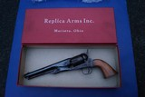 Early Uberti Colt Model 1861 Navy Reproduction Revolver by Replica Arms with Iron Straps, Fluted Cylinder & Orig. Box