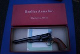 Early Uberti Repro of Colt 1861 Navy Revolver distributed by Replica Arms in the Original Box, Unfired. Not SAA