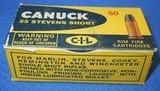 * Vintage AMMO CANUCK 25 STEVENS RIMFIRE RF SHORT FULL BOX NOS - 1 of 5