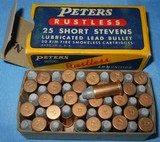 * Vintage AMMO PETERS 25 STEVENS RIMFIRE RF FULL BOX NOS