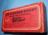 * Vintage AMMO REMINGTON UMC 25 STEVENSRIMFIRE RF SHORT BLACK POWDER FULL BOX - 3 of 4