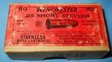 * Vintage AMMO WINCHESTER 25 RIMFIRE RF SHORT STEVENS FULL BOX - 2 of 5