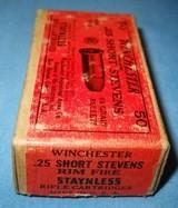 * Vintage AMMO WINCHESTER 25 RIMFIRE RF SHORT STEVENS FULL BOX - 3 of 5