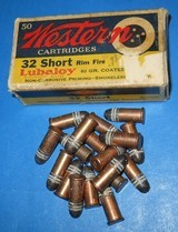 VINTAGE AMMO 32 RIMFIRE RF WESTERN 6 CARTRIDGES