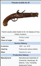 * Antique 1811 FIRST EMPIRE MAUBEUGE FRENCH FLINTLOCK MARTIAL PISTOL - 17 of 19