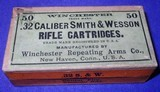 *antique ammo winchester .32 s&w rifle cartridges sealed box 50
