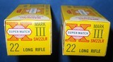 * Vintage WESTERN SUPER MATCH MARK III 22 RF AMMO, MINT COLLECTOR GRADE 2 BOXES