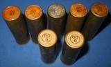 * Vintage 2 WINCHESTER 5 UMC REMINGTON 12 ga. BRASS 00 BUCK SHOTGUN SHOT SHELLS