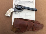 *HIGH CONDITION* Colt Pre-War SAA Revolver .45cal w/RARE Vintage Carved Steer Head Pearl Grips, Holster, and Archive Letter!