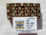 NOS Winchester 45 Winchester Magnum 230 Grain F.M.C 100 Rounds - 2 of 2