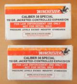 100 Winchester 38 Special +P 110 Grain Jacketed Controlled Expansion