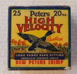 Peters High Velocity Full & Correct 20 gauge Shot Shell Box, Paper Shells
