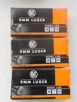 Three Boxes of RWS (Switzerand) 9 mm 124 Grain FMJ, 150 cartridges