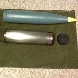 105 MM steel casing & wooden projectile. 14- .50 cal live, practice and dummy rounds. 1 WWII Practice 20mm rd, dated 1942 - 1 of 5