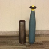 105 MM steel casing & wooden projectile. 14- .50 cal live, practice and dummy rounds. 1 WWII Practice 20mm rd, dated 1942 - 4 of 5