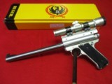 """Ruger Mark II Target S/S 10"""" Bull Barrel w/2x20mm Scope and Mount"""