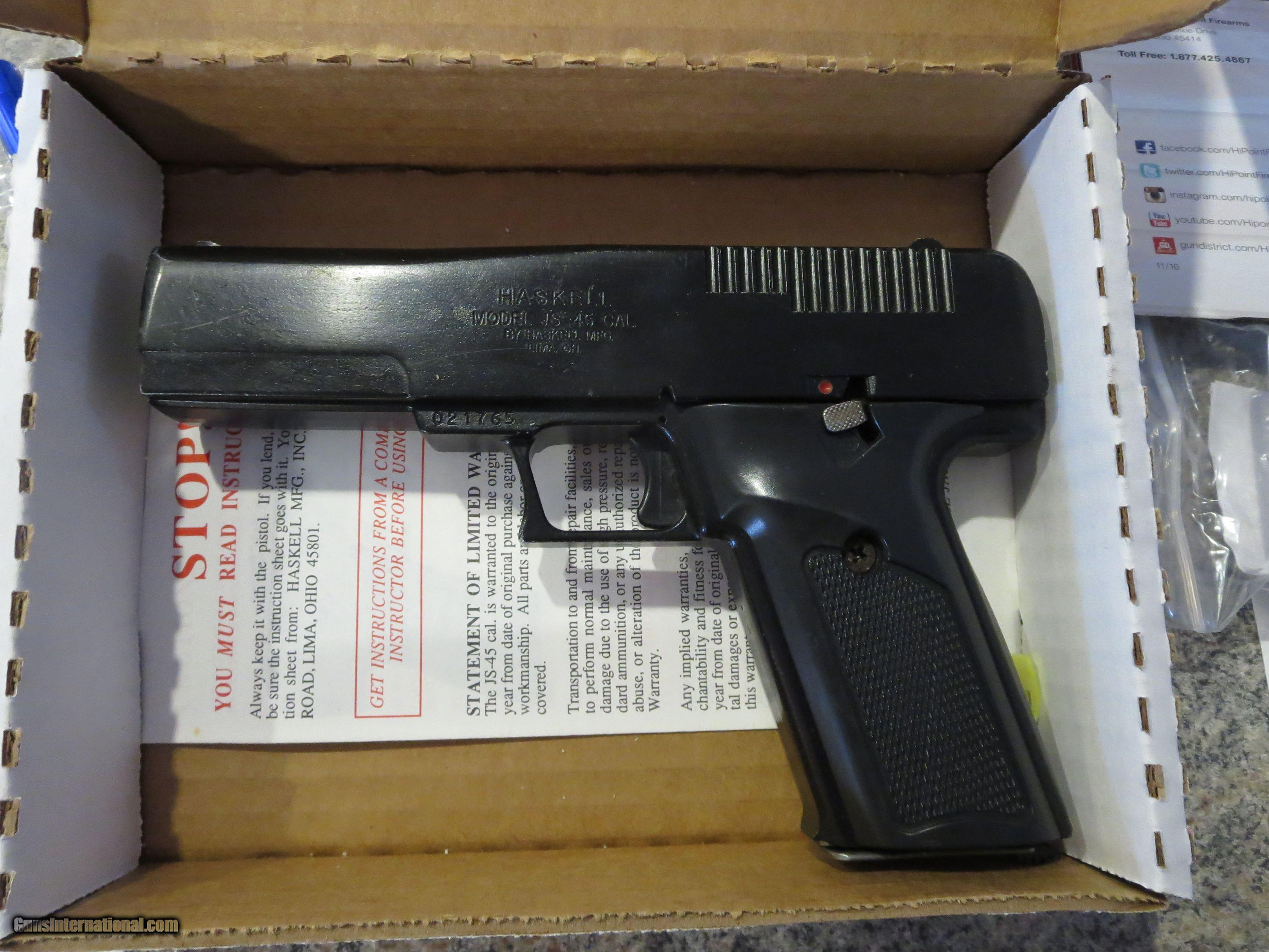 Haskell(Hi-Point) 45 ACP Semi-auto Pistol in Excellent Shape