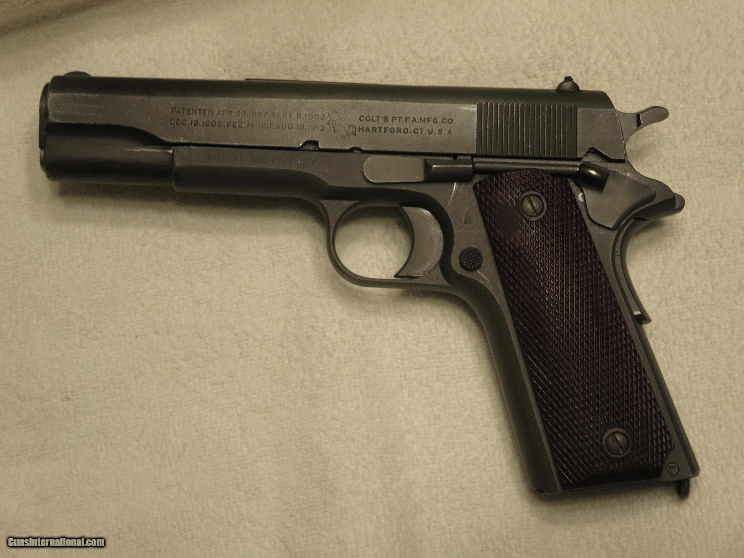 1918 Colt M1911 45 ACP Pistol, RIA Rework with Heart Shaped Grip ...