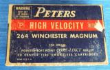 VINTAGE PETERS 264 WINCHESTER MAGNUM 140GR. POINTED SOFT POINT FULL BOX of (20) SUPER CLEAN!