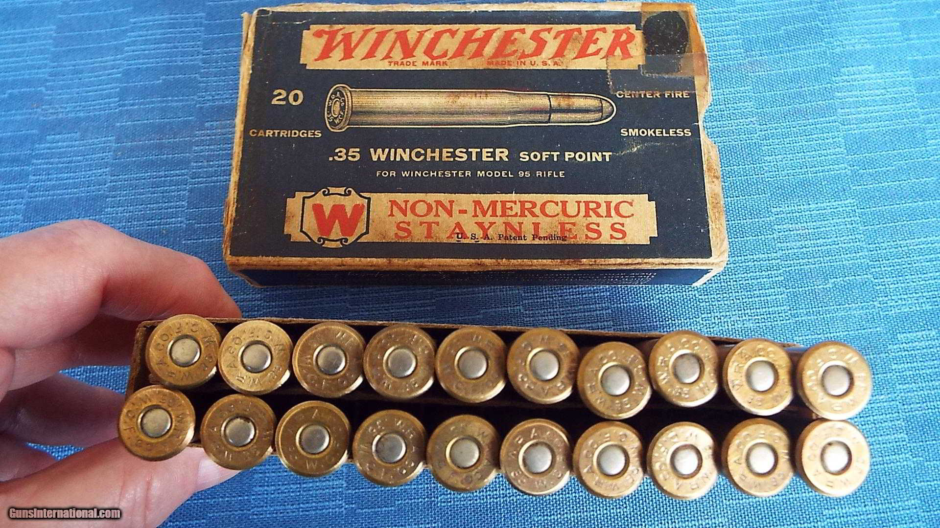 VINTAGE 1932 WINCHESTER BOX OF .35 WINCHESTER SOFT POINT ...