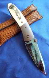 MARFIONE CUSTOM (MICROTECH) LIGHTFOOT LCC DOUBLE - ACTION VINTAGE IVORY & DAMASCUS(Limited edition of 5 pieces) - 1 of 11