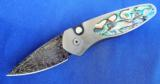 PROTECH SPRINT AUTO CUSTOM #4 ~ ABALONE ~ NICHOLS HIGH-CARBON DAMASCUS ~ 416 STEEL ~ NEW IN THE BOX!!