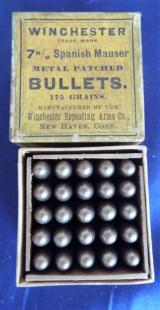 VINTAGE WINCHESTER FULL BOX OF 7mm SPANISH MAUSER METAL PATCHED BULLETS ~ 175 GRAIN