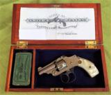 SMITH & WESSON .32 SAFETY HAMMERLESS 2nd MODEL TOP BREAK REVOLVER **1906** NICKEL ENGRAVED, FACTORY LETTER, WOOD BOX & ANTIQUE AMMO