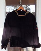VIETNAM 1968 NAVY JUMPER WITH LIBERTY PATCHES , CUFFS & REBEL FLAG UNDER COLLAR SIZE 38R