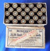 VINTAGE BOX OF WINCHESTER PRIMED SHELLS FOR .25-20 SINGLE SHOT RIFLES FULL BOX (50) EXCELLENT COND.