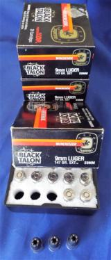 WINCHESTER * BLACK TALON * AMMUNITION 9mm Luger 147gr. SXT FACTORY ORIGINAL AMMO (4 BOXES AVAILABLE)