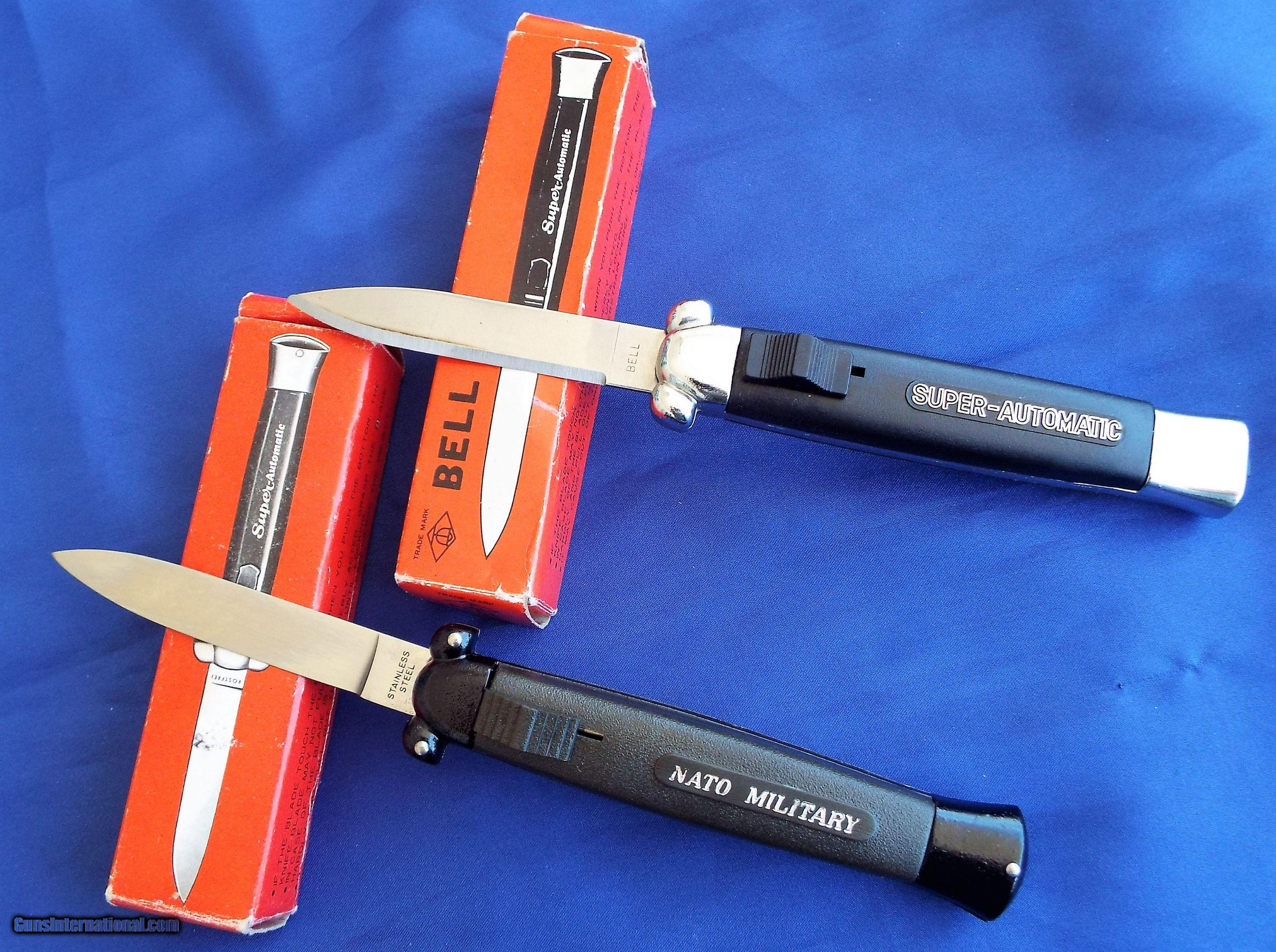 VINTAGE PAIR OF OTF DOUBLE ACTION SPRINGER KNIVES (1)BELL
