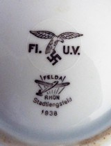 ORIGINAL WWII LUFTWAFFE GERMAN MESS HALL PORCELAIN SAUCERS (2) EXCELLENT CONDITION NAZI MARKED