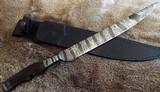 **MARK ANTONY** CUSTOM HANDMADEMOSAIC DAMASCUS TRIBAL LONG KNIFE ~ HUNTING & CEREMONIAL MACASSAR EBONY