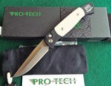 "PROTECH BREND #2 Small Size 1251 ""Tuxedo"" Auto Knife ~ Ivory Micarta ~ Satin BladeNIB (Dealer) - 1 of 11"