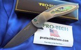 Protech Custom CAMBRIA Damascus Flipper Knife SS w/ Abalone Inlay & Button lock 3.5""