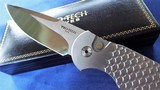 """PROTECH """"STEEL CUSTOM"""" LIMITED EDITION AUTO (#7 of 50) 416 STEEL FRAME/ FISH SCALE/MIRROR POLISHED/ PEARL BUTTON TR3x1.4 *NIB* - 4 of 9"""