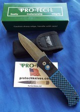 Protech Emerson CQC7AAuto w/ Blue & Black Textured G-10 Top & Acid Washed Spear Point NIB #144 - 1 of 10