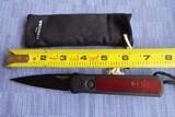 PRO-TECH GODSON Auto Folding Knife BLACK with BURGUNDY RED vintage Swiss Leather Inlay Deep Pocket Clip New Variation (06/2020) NIB - 6 of 7