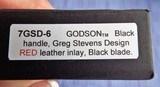 PRO-TECH GODSON Auto Folding Knife BLACK with BURGUNDY RED vintage Swiss Leather Inlay Deep Pocket Clip New Variation (06/2020) NIB - 7 of 7
